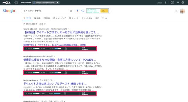 Mozbar(競合サイト分析ツール)の使用例