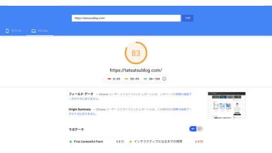 Katakuri Blog:Page Speed Insightの速度