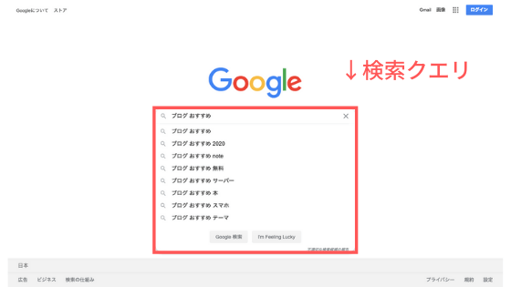 [ブログ おすすめ]:Google検索結果